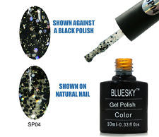 04 SP SUPERSTAR  Black and Silver with different size glitter - UV LED Gel Soak off Nail Polish 10ml