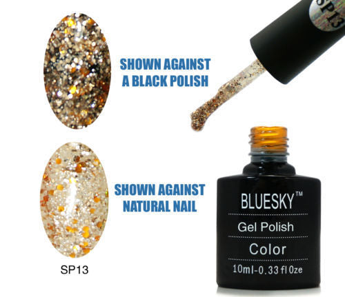 13 SP SUPERSTAR Gold and Bronze with different size glitter - UV LED Gel Soak off Nail Polish 10ml