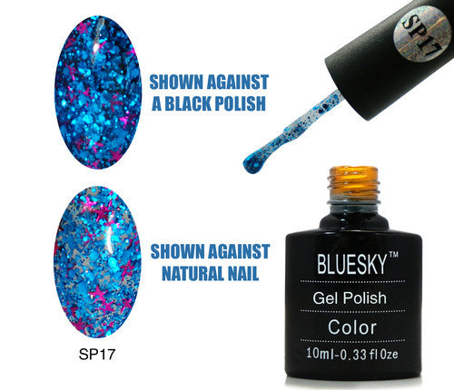 17 SP SUPERSTAR Blue Glitter with Pink Stars - UV LED Gel Soak off Nail Polish 10ml