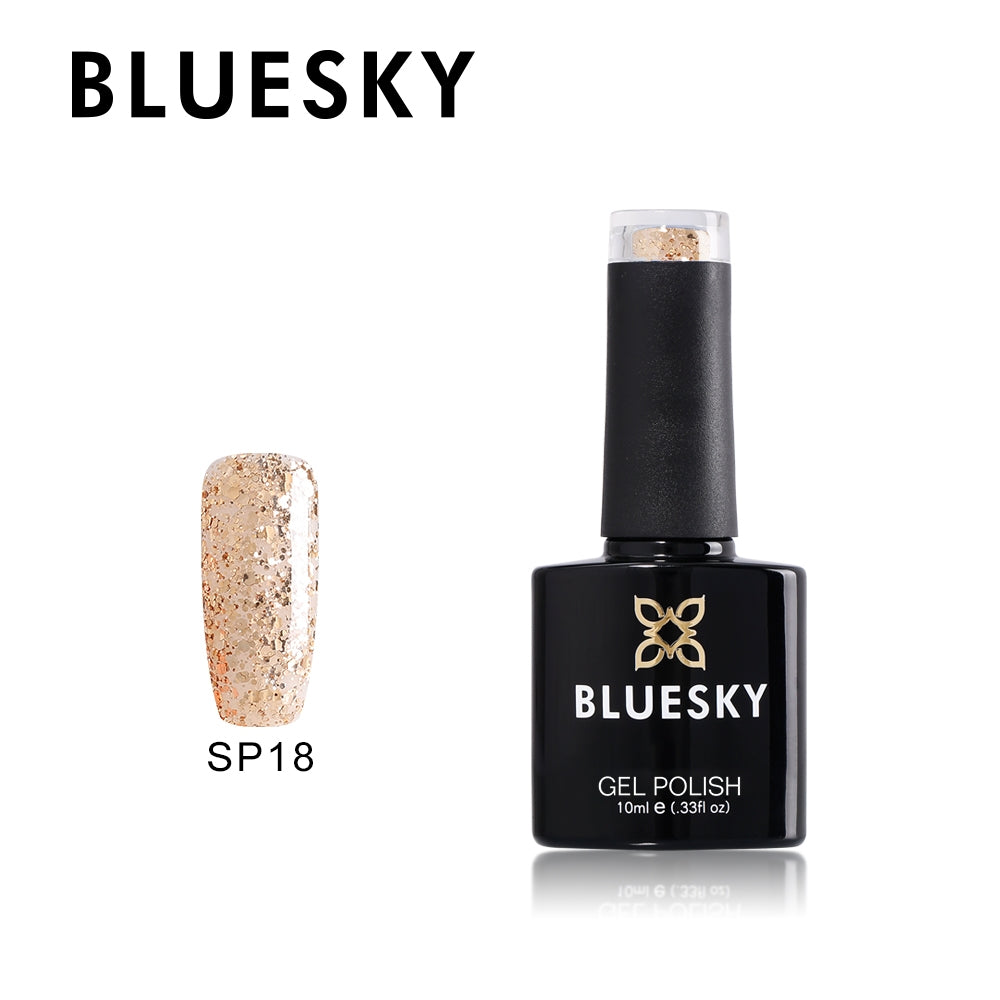 18 SP SUPERSTAR Gold different size glitter - UV LED Gel Soak off Nail Polish 10ml
