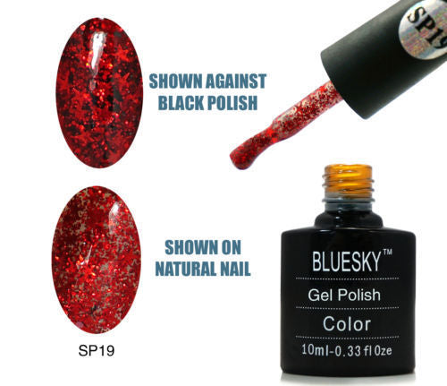 19 SP SUPERSTAR Red Glitter with Red Stars - UV LED Gel Soak off Nail Polish 10ml