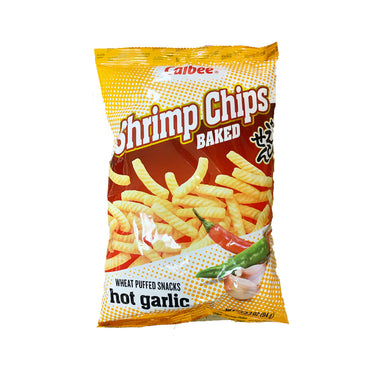 Calbee Baked Shrimps Chips Hot Garlic