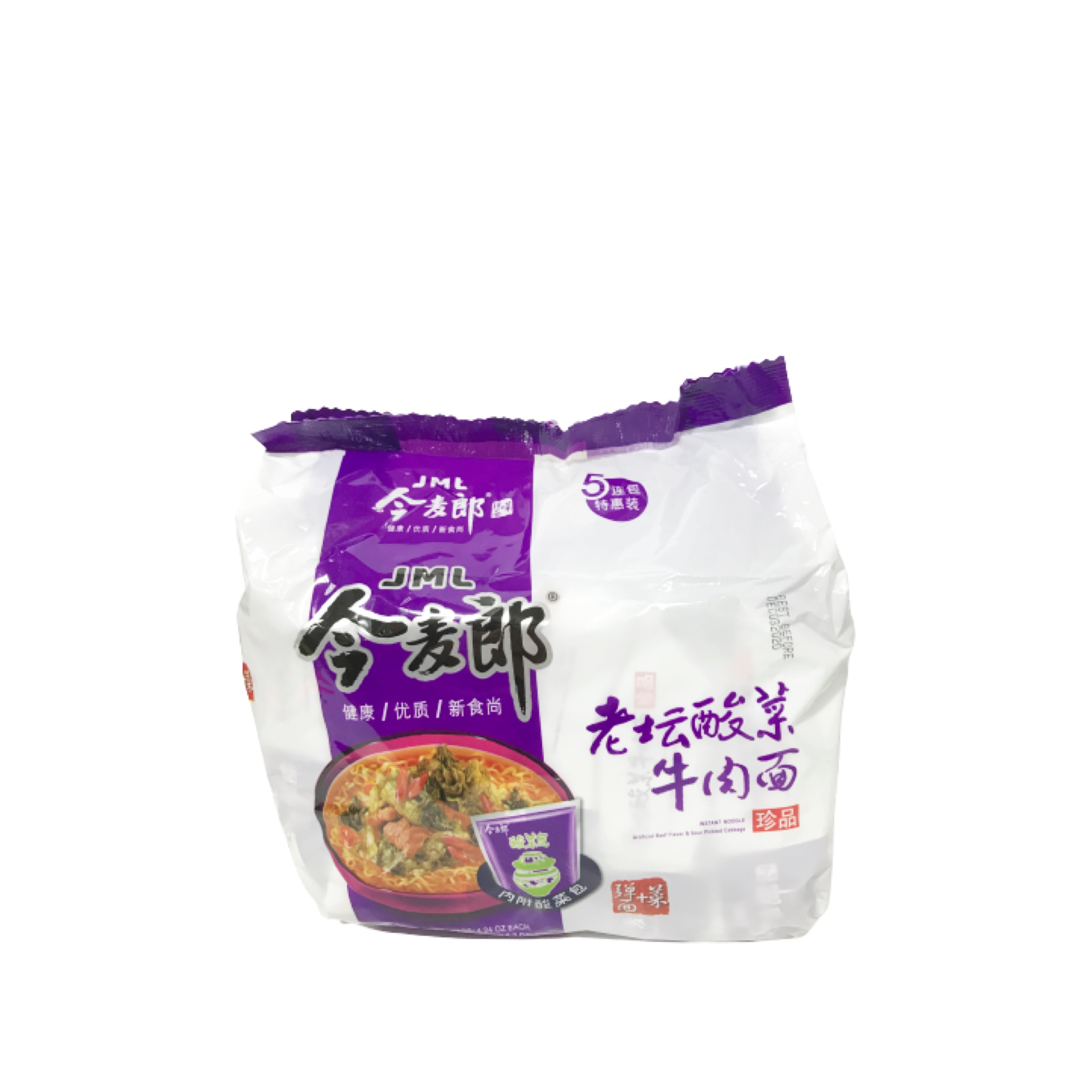 JML Beef & Sour Pickled Cabbage Noodle ( 5 packs) 今麥郎老壇酸菜牛肉麺