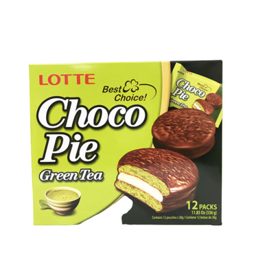 Lotte Green Tea Choco Pie 樂天绿茶巧克力派 (12 packs)