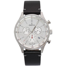 Load image into Gallery viewer, Arena City  men's chrono watch. silver dial, leather strap, Swiss made Ronda movement, scratch resistant crystal sapphire glass. Made in Switzerland.