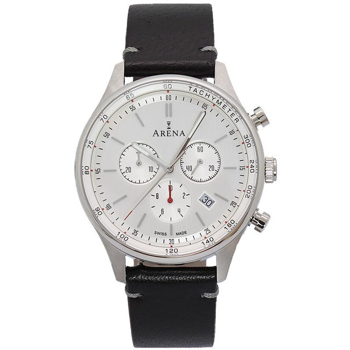 Arena City  men's chrono watch. silver dial, leather strap, Swiss made Ronda movement, scratch resistant crystal sapphire glass. Made in Switzerland.