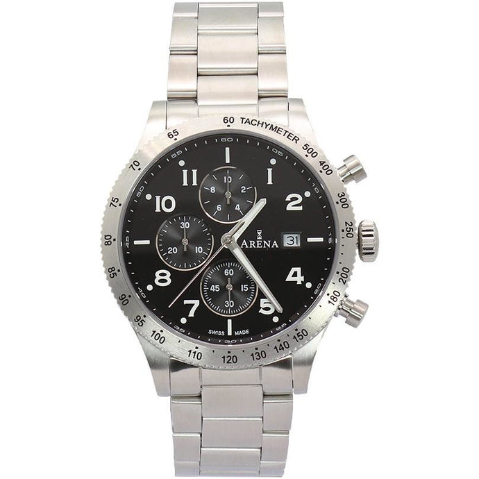 Arena Racer men's chrono watch. black dial, 316L stainless steel strap, Swiss made Ronda movement, scratch resistant crystal sapphire glass. Made in Switzerland.
