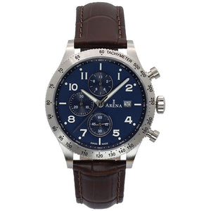 Arena Racer men's chrono watch. blue dial, leather strap, Swiss made Ronda movement, scratch resistant crystal sapphire glass. Made in Switzerland.