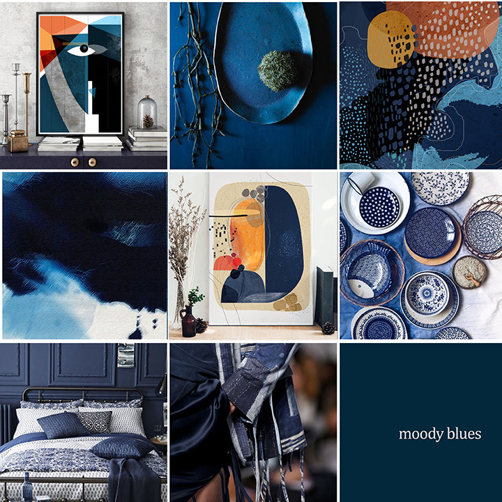 The Blues Run the Game - Moody Blue moodboard