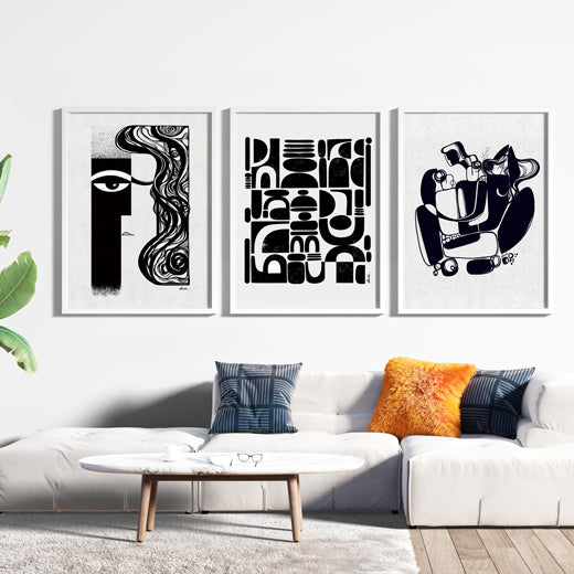 Black and White Gallery Wall set of 3 - SoulCurryArt