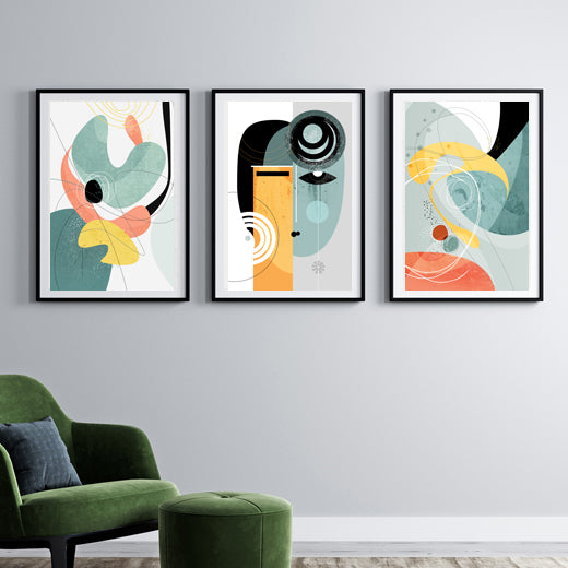 Galactic Face Gallery Wall set of 3 - SoulCurryArt