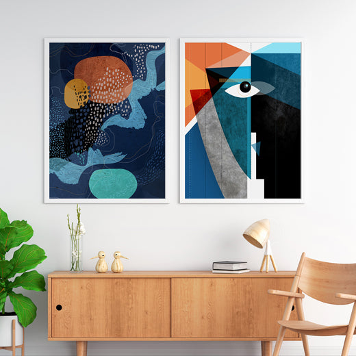 Midnight Waterfall Kiss- set of 2 prints - soulcurryart