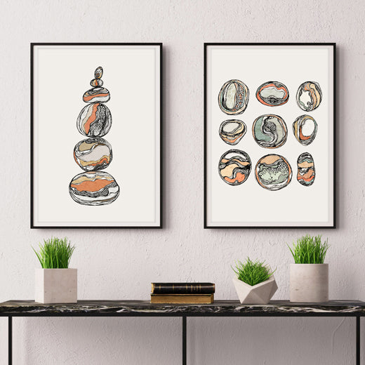 Organic Rocks - Set of 2 prints - soulcurryart