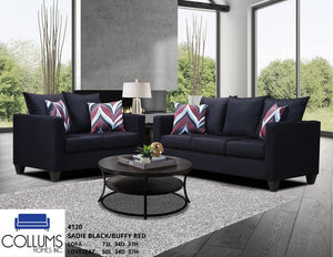 Sadie Black 2 piece sofa and love-seat set