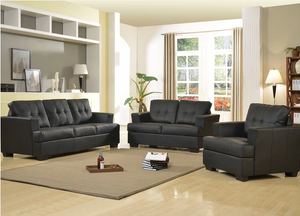 Bonded Leather 3 PC Black Sofa Set