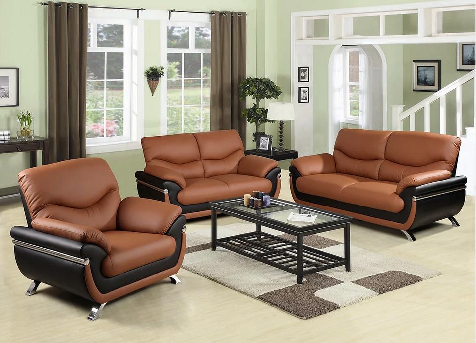 Faux Leather Brown 3 PC set Sofa