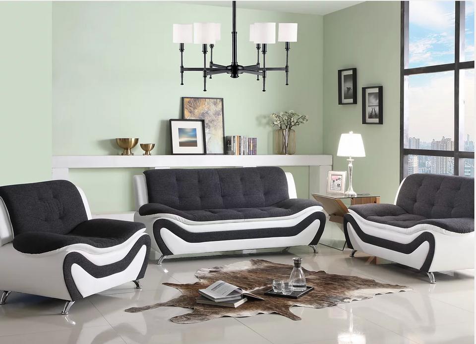 Faux Leather 3 PC Sofa Set