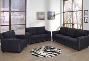 Linen 3 PC Black Couch Set
