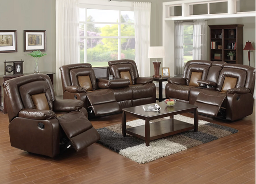 Brown Leather 3 PC Recliner Set