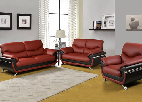 Faux Leather Ruby 3PC Sofa Set