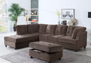 3 piece dark brown sectional with storage ottoman