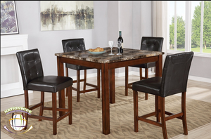 Faux Marble 5 PC Table Set