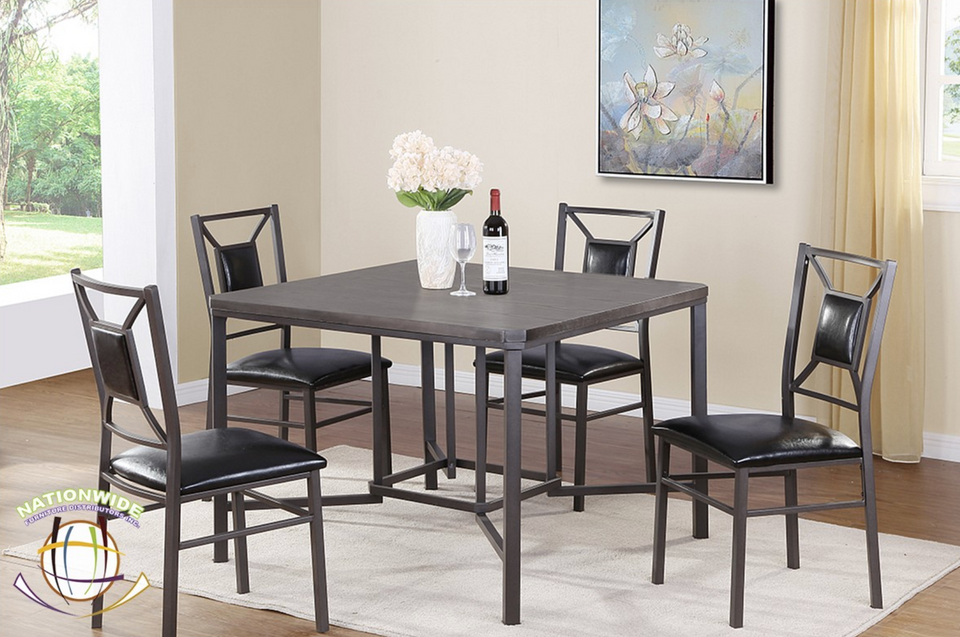 Contemporary Gray Pub Table with 4 chairs