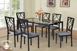 Black 7 PC Dining Set with Chairs