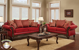 Luxurious Red 2 PC Sofa Set