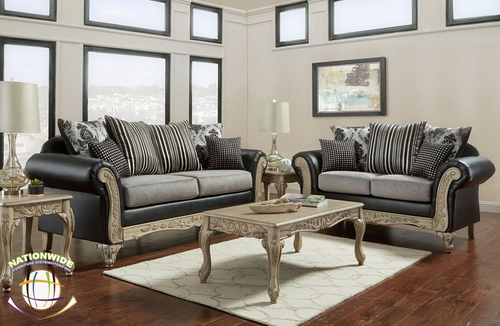 Luxurious Black and Gray 2 PC Sofa