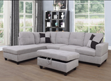 Gray 3 piece sectional with storage ottoman