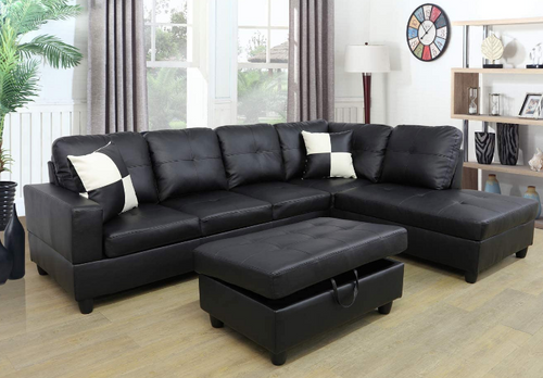 Black 3 piece sectional leather