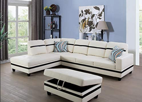 3 piece White and black sectional with storage ottoman