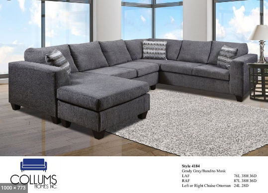 3 piece gray sectional with chase