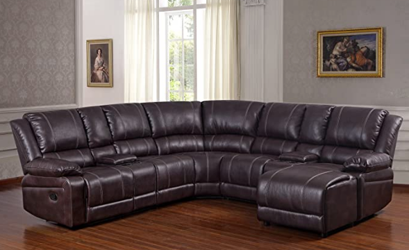 2 piece luxurious brown reclining sectional