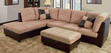 2 piece beige and brown sectional with storage ottoman