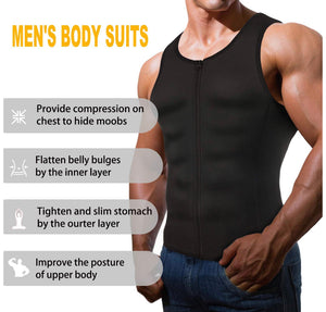 Men Shapewear Slimming Body Shaper Compression Shirt Tank top with Zipper Underwear for Tummy Control
