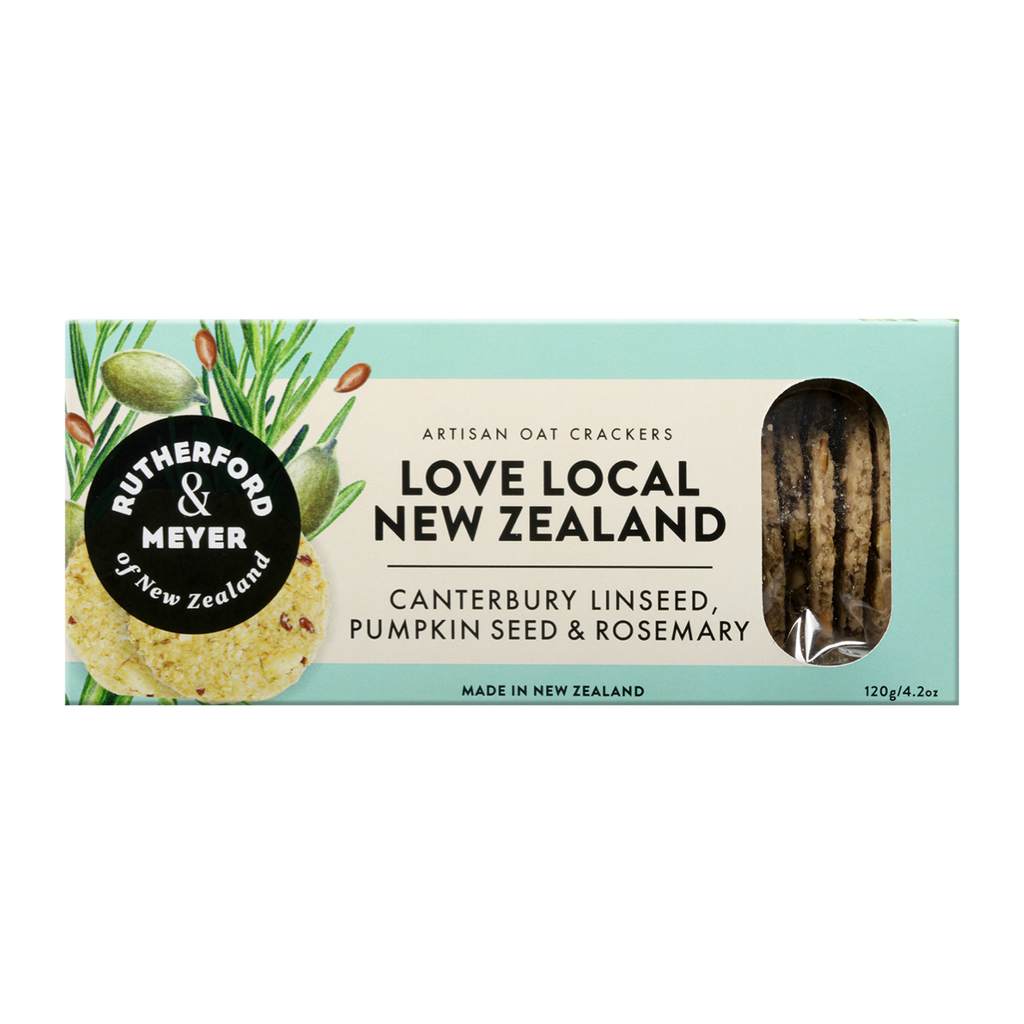 Love Local NZ Oat Crackers – Canterbury Linseed, Pumpkin Seed & Rosemary