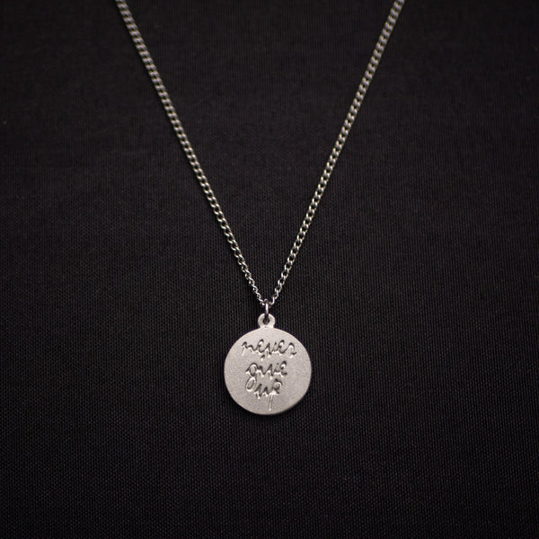 """Never Give Up"" Pewter Necklace"