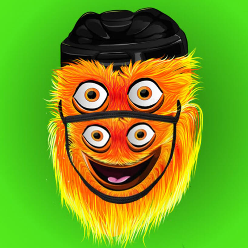Philadelphia Flyers mascot Gritty wearing a funny Gritty Phillygoat face mask