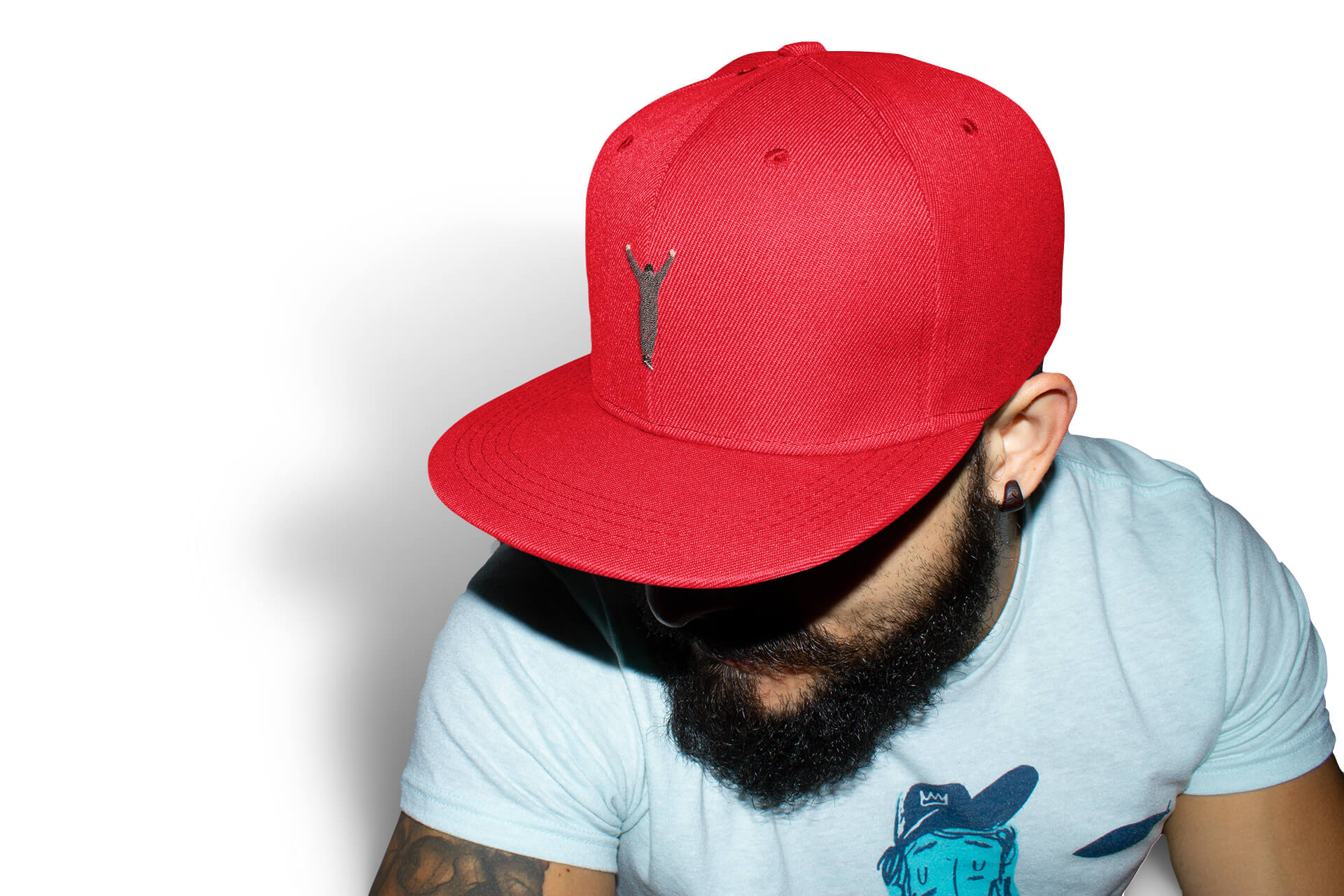 Red Phillygoat Rocky flexfit hat on a cool Philadelphia hipster man with a beard
