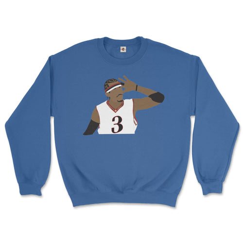 philadelphia 76ers allen iverson with hand cupped to ear playing to sixers crowd design on a royal blue sweatshirt from phillygoat