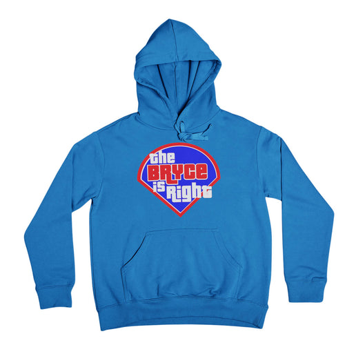 philadelphia phillies bryce harper the bryce is right royal blue hooded sweatshirt from phillygoat