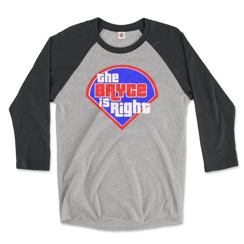 bryce harper the bryce is right vintage black and premium heather 3/4 raglan tee from phillygoat