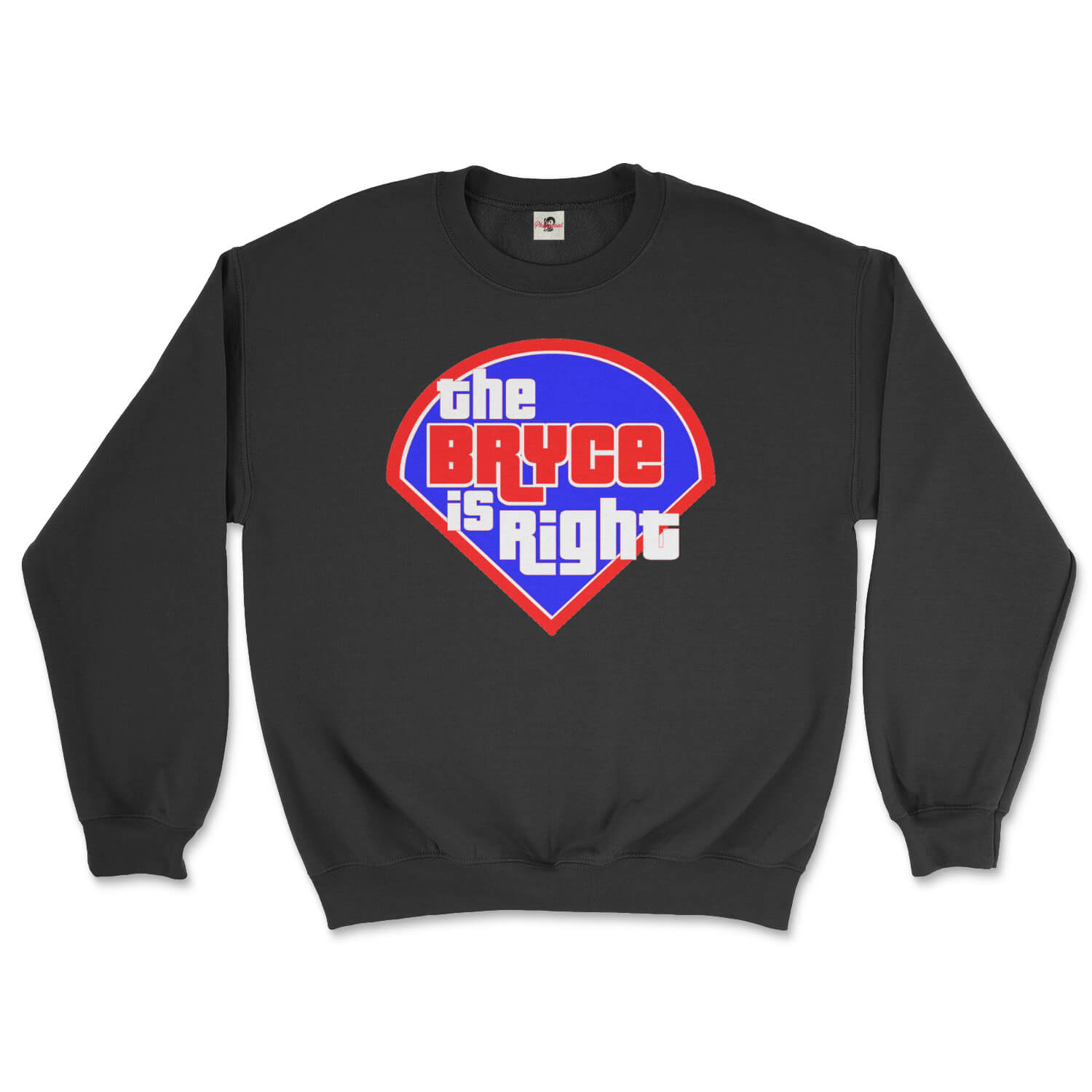 Philadelphia Phillies Bryce Harper the Bryce is Right design on a black sweatshirt from Phillygoat