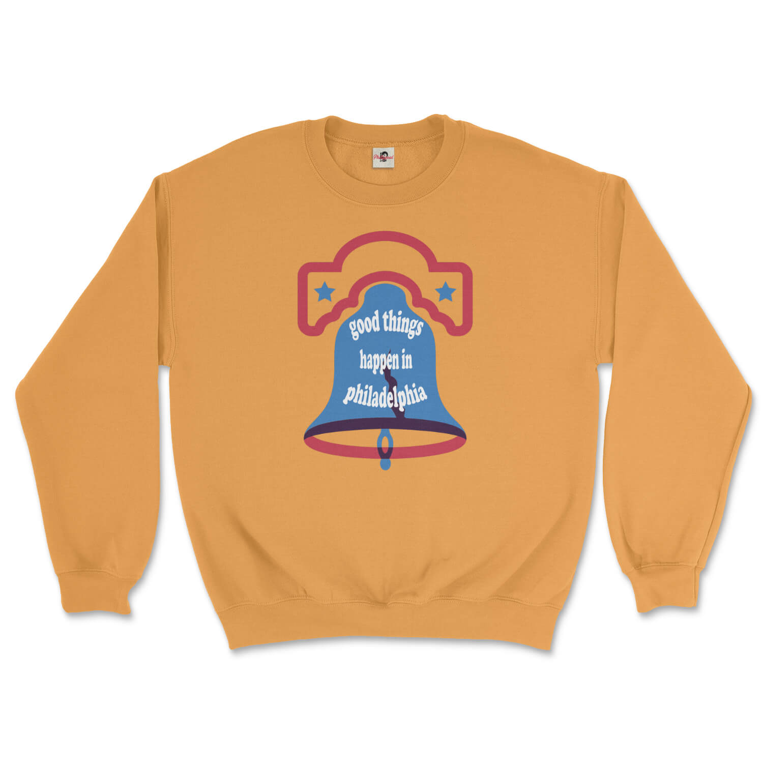 good things happen in philadelphia liberty bell design on a gold yellow sweatshirt from phillygoat