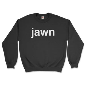 philadelphia slang word jawn in helvetica font on a black sweatshirt from phillygoat
