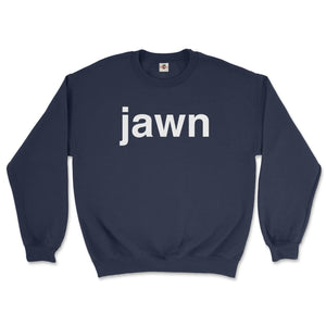philadelphia slang word jawn in helvetica font on a navy blue sweatshirt from phillygoat