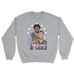 joel embiid and ben simmons of the philadelphia 76ers posing like Step Brothers awkward family photo movie poster on a sport grey sweatshirt from phillygoat