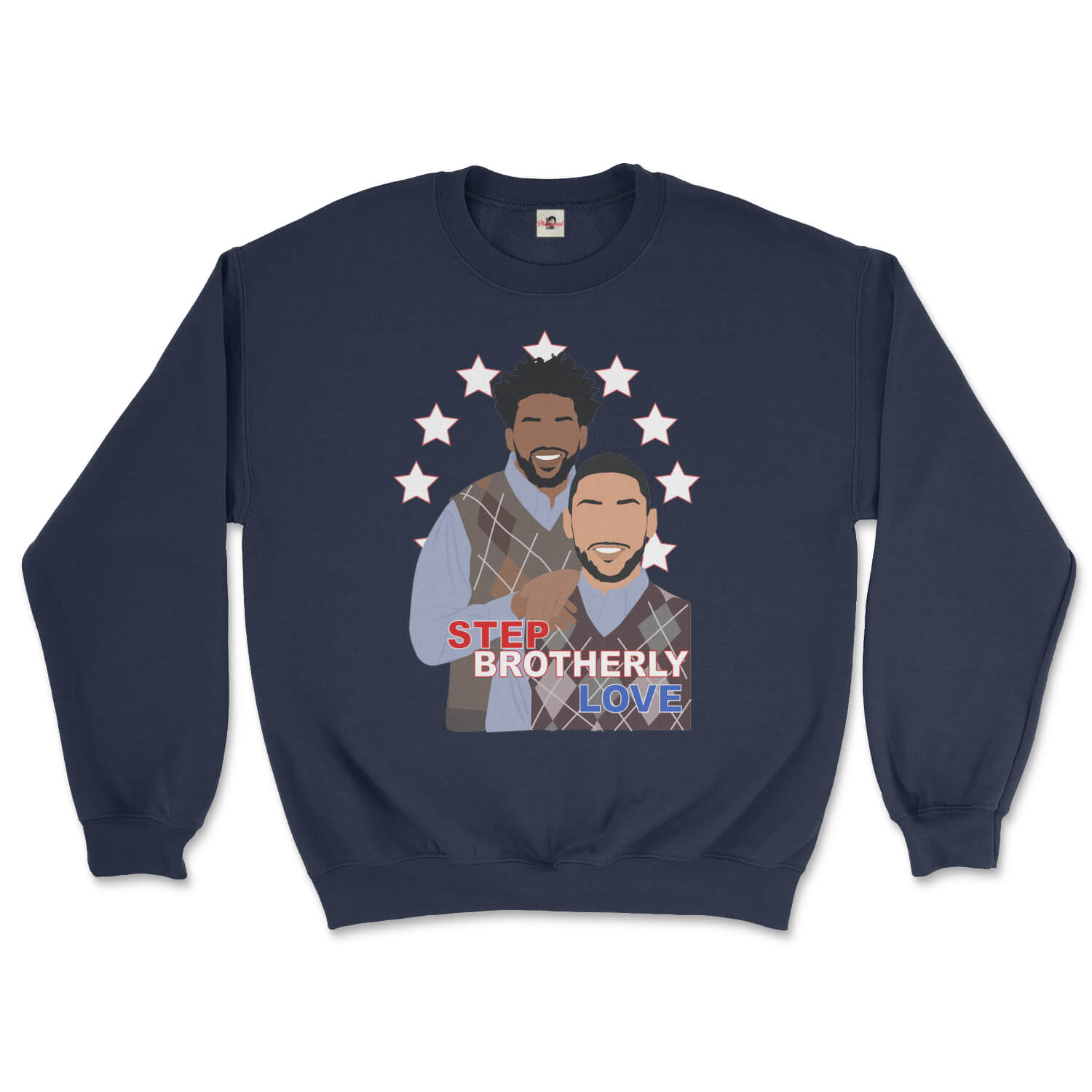 Philadelphia 76ers Joel Embiid and Ben Simmons posing like Step Brothers in an awkward family photo design on a navy blue sweatshirt from Phillygoat